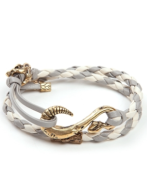 Spalla Double Strap with Brass Bracelet - White/Gray