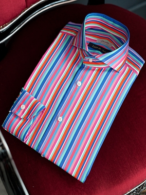 Spalla Wide Spread Collar Shirts - Blue/Pink Stripe Lure at. Exclusive