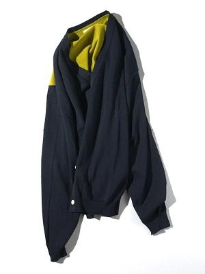 Unitus Color Block Cardigan  - Navy