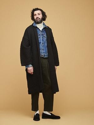 Yashiki Uninari Knit Coat -Black